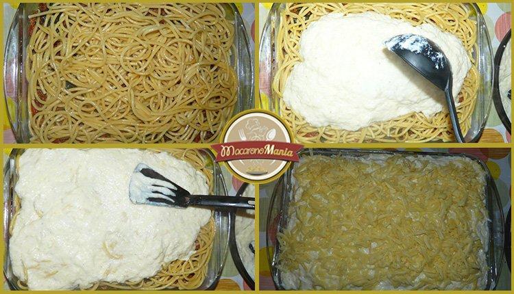 Приготовление. Шаг-9. Слой соуса бешамель и макарон. Сверху сыр.
