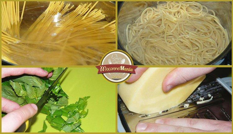 Варим макароны, режем зелень, натираем сыр. Приготовление. Шаг-3.