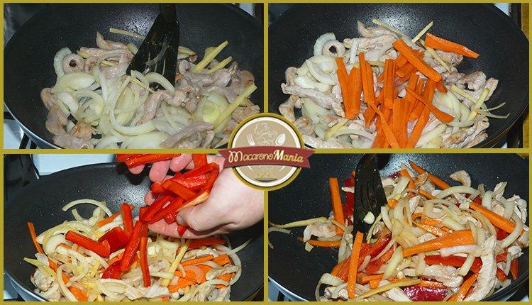 Фунчоза с овощами и мясом в соусе терияки. Шаг 3