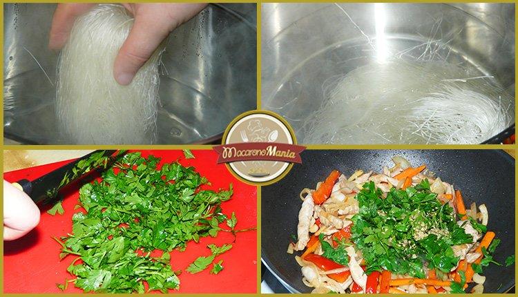 Фунчоза с овощами и мясом в соусе терияки. Шаг 4