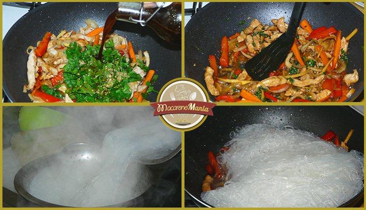 Фунчоза с овощами и мясом в соусе терияки. Шаг 5