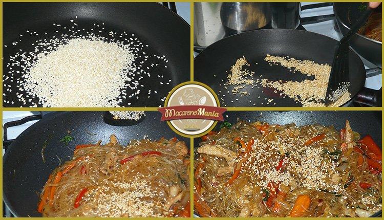 Фунчоза с овощами и мясом в соусе терияки. Шаг 6