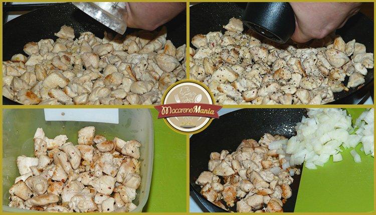 Жареные макароны с курицей и сыром. Приготовление. Шаг 3