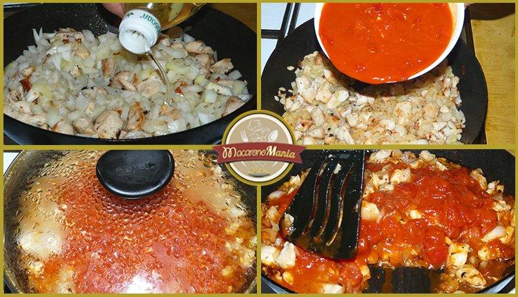 Жареные макароны с курицей и сыром. Приготовление. Шаг 4