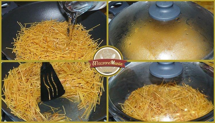 Жареные макароны с курицей и сыром. Приготовление спагетти на сковороде. Шаг 2