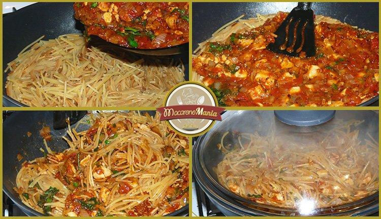 Жареные макароны с курицей и сыром. Приготовление. Шаг 6