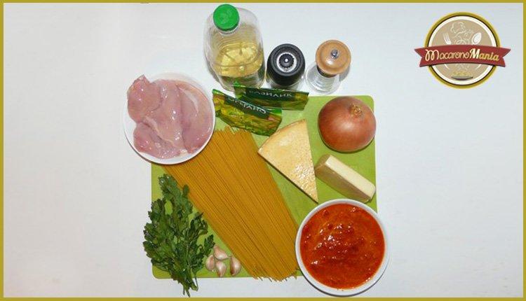 Жареные макароны с курицей и сыром. Ингредиенты