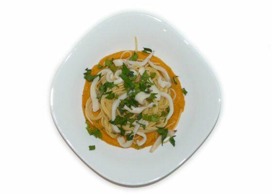 Макароны с тыквой и кальмарами. Рецепт приготовления с пошаговыми фото. Макарономания