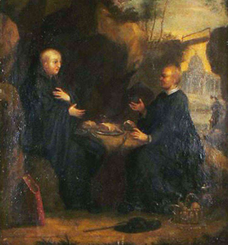 Два монаха обедают. Древняя картина