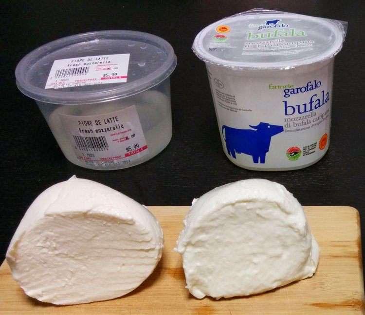 Моцарелла из молока буйвола и молока коров. Разница. Вид рядом
