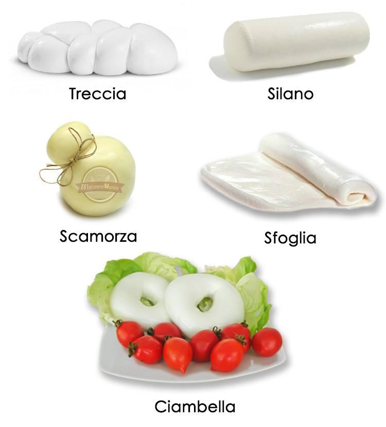 Виды моцареллы. Моцареллу изготавливают и предлагают в различных формах. Mozzarella forms