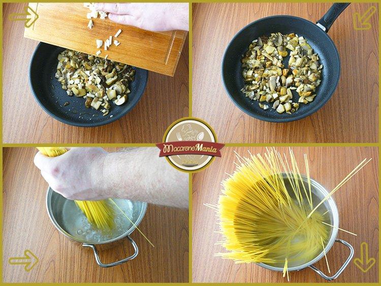Макароны с белыми грибами, шампиньонами и сыром. Приготовление. Шаг 2