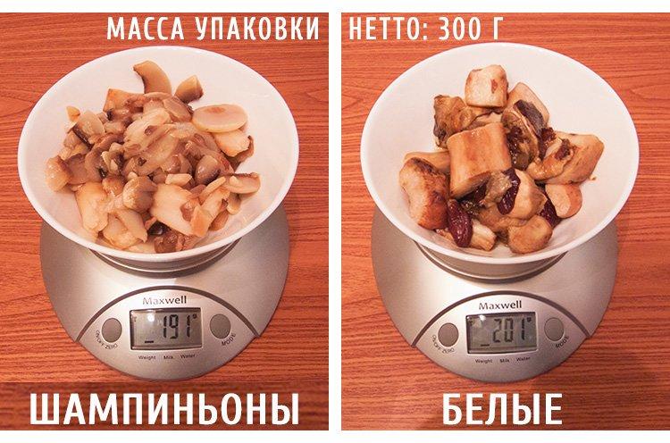 размороженые грибы вес