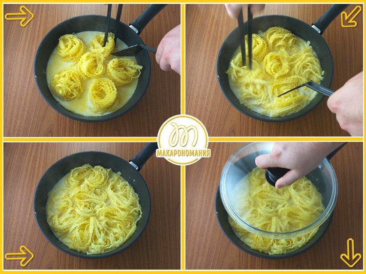 Сливочная паста с креветками и шпинатом. Приготовление. Шаг 5. Продолжаем готовить пасту