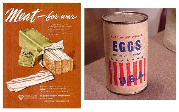 Бекон и яйца изготовленные в США в период Второй мировой войны