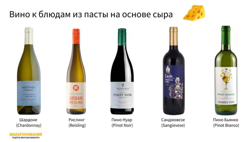 Вино к блюдам из пасты на основе сыра (в том числе вино к пасте карбонара)